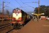 VSKP WDM3A 18802 waits in the morning sunshine at the dustbowl that is Barbil with 18415 0805 Barbil - Puri