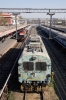 RTM WDM3A 16843 arrives into Indore Jct alongside the OHL testing unit, with 12961 1905 (26/02) Mumbai Central - Indore Jct