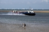 A Hovercraft arrives Ryde after maikng its way through the JP Morgan round the Island boat race off the coast of Ryde as the boats near the end at Cowes