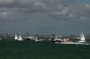 Wightlink Ferries, Catamaran & the Hovercrafts brave the waters to find a way through the JP Morgan round the Island boat race off the coast of Ryde as the boats near the end at Cowes