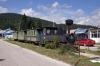 JZ steam loco 99-4-025 in the street at Kicevo, Macedonia