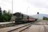MZ 661223 at Kicevo with 663 1218 Kicevo - Skopje; the train includes 3 wagons loaded with wood for Dorce Petrov at the rear