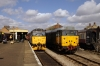 31271 waits to depart Dereham with the 1200 Dereham - Wymondham Abbey while 31601 stands on the adjacent loop