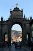 Peru, Cusco - looking through the archway from Santa Clara towards Templo y Convento de La Merced and Cusco's Plaza de Armas