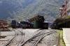 Peru Rail MLW DL535 #481 (R) sits at Machu Picchu; it would work Vistadome Train 32 1520 Machu Picchu - Cusco Poroy. Meanwhile Peru Rail Alco DL535 (ex Alco DL532 #357) #487 shunts stock at Machu Picchu