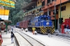 Peru Rail Alco DL532 #352 waits its next turn of duty in the street at Aguas Calientes