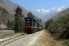 Peru Rail GM G12 #510 arrives into Ollantaytambo with Expedition Train 72 (which conveys local coaches) 0754 Hidroelectrica - Ollantaytambo