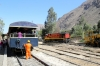 At San Bartolome FCCA's 0700 Lima - Huancayo tourist train reverses, here FCCA GE C30-7 1008 is being turned on the turntable before being attached to the opposite end of the stock