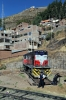 FCHH MLW DL532 435 at Huancavelica being turned on the turntable after arrival with Train Macho the 0630 Huancayo Chilca - Huancavelica; which arrived at 1545 vice 1230 due to 435 neededing running repairs to a traction motor 15km from Huancavelica at Yauli