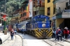 Peru Rail Alco DL532 #352 & Alco DL535 #487 (ex DL532 #357) wait their next turns in the street at Aguas Calientes