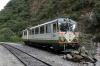 Inca Rail DMU car 903 stabled outside Machu Picchu station