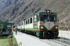 Inca Rail Train 43 1115 Ollantaytambo - Machu Picchu waits to depart Ollantaytambo