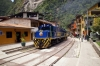 Peru Rail Alco DL532 #358 leads Alco DL535 #400 through the streets at Aguas Calientes; they would shunt inside the loop to allow train 21 0700 Cusco San Pedro - Hidroelectrica to arrive at Aguas Calientes