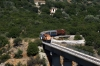 OSE Alco DL537 A9105 (A9101 rear) run over the Achladokambos Bridge for a photo-runby while working the 1127 Argos - Megalopoli leg of the PTG Peloponnese Tour Day 1