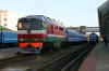 BCh TEP70-0209 waits to depart Vitebsk with 689b 0825 Vitebsk - Gomel while 2M62U-0261b waits to depart with 6613 0825 Vitebsk - Orsha Central