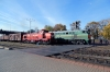 BCh TME1-017 shunts wagons into the station at Vitebsk while an unidentified 2TE10 runs through with a freight