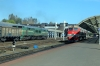 An unidentified BCh 2TE10 runs through Vitebsk with a freight while RZD 2M62U-0002a&b wait the road to head back into the yard