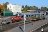 BCh TEM1-016 shunts wagons into Vitebsk station while BCh ChME3-2168 waits to shunt back into the yard