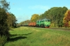 BCh 2M62-1097 runs through Liotcy, towards Vitebsk, with a freight