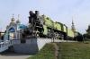 UZ Steam Loco SCh253-25 plinthed outside Kovel station