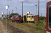BDZ 07032 shunts off IC460 0755 Sofia - Bucharest at Giurgiu Nord, Romania, while GFR Suler 601572 waits with a freight
