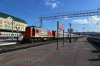 RZD TEM18DM-1070 shunts a set of stock in Krasnoyarsk station
