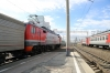 RZD EP2K-018 waits to depart Novosibirsk Glavniy with 099E 0051 (30/05) Vladivostok - Moskva Yaroslavskaya, which it worked to Barabinsk