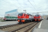 RZD EP2K-278 is attached at Barabinsk to work forward with 099E 0051 (30/05) Vladivostok - Moskva Yaroslavskaya, while EP2K-195/EP2K-xxx wait the road onto shed and ChS2-010 is plinthed on the station