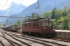 BLS Re4/4 is shunted out to go onto a car transporter set at Kandersteg while Re4/4 191 (L) & Re4/4 188 (R) wait to depart with car transporter trains for Goppenstein