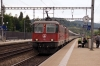SBB Re4/4's 11195/11153 arrive into Liestal with IR2277 1547 Basel - Zurich Hbf; which would be cancelled at Aarau after both locos failed