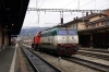 FS E444, 444030, is shunted off EC158 1410 Milan - Luzern at Chiasso by SBB 843043; about to be replaced by SBB Re420 11140