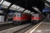 Zurich HB (L-R) SBB Re420 11121 backs down to work EC186 1305 Zurich HB - Stuttgart while SBB Re420 11228 waits to depart with EC6 1300 Zurich HB - Hamburg Altona (diverted via Brugg due Lenzburg Tunnel being closed)