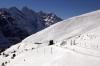 WAB BDhe4/4 EMU climbs towards Kleine Scheidegg with a ski train