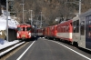 MGB Deh4/4 II #92 waits at Fiesch with 542 1208 Visp - Goschenen while Deh 4/4 I #54 (out of sight mid-train) arrives with 535 1112 Goschenen - Visp
