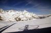 GGB Bhe4/8 3054's pantograph shadow in the snow as it heads down from Gornergrat with 234 1155 Gornergrat - Zermatt