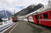 Sagliains (L-R) - RhB Ge4/4 II #622 arrives with 1936 1102 Pontresina - Scuol-Tarasp with RhB Ge4/4 II #618 waits to depart with RE1236 1140 Scuol-Tarasp - Disentis
