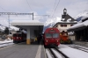 RhB Ge4/4 II #625 prepares to depart Scuol-Tarasp with RE1244 1340 Scuol-Tarasp - Disentis while (R) 1941 1334 Scuol-Tarasp - Pontresina is about to depart with RhB Ge4/4 #611 on the rear