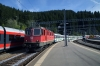 On hire to SOB, SBB Cargo 11313 (T&T with SOB Re446 446015) arrives into Bieberbrugg with VAE2410 0805 St Gallen - Luzern