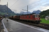 SBB Re6/6 11632 passes through Schwyz with a freight