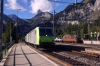 BLS 485002/010 run through Kandersteg with a freight while BLS Re425 162 waits with a car train for Goppenstein