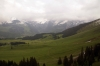 View from the cable car during the final stage of our descent from Mount Titlis to Engleberg; after the sun had disappeared!