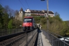 SBB EMU 514052 exits the tunnel beneath Laufen Castle, right by the Rhine Falls at Neuhausen