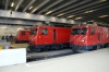 Zermatt L-R, MGB HGe 4/4 II's, #2 with 256 1613 Zermatt - Visp, #4 with a spare set & #3 with 254 1539 Zermatt - Brig Bahnhof Platz