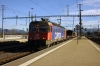 SBB Cargo Re6/6 620042 runs through Pfaffikon with a freight