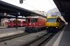 Three generations of RhB at Chur (L-R) - EMU with RE1557 1248 Chur - Thusis, Ge4/4 II #614 with RE1252 1040 Scuol-Tarasp - Disentis & Ge4/4 III #644 with RE1141 1258 Chur - St Moritz