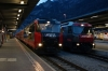 An unusal sight at Chur in two RhB Ge4/4 III's side by side with trains! Left is #648 with RE1212 0717 Landquart - Disentis and right is #642 with RE1121 0758 Chur - St Moritz; the former is a booked Ge4/4 II turn. The Ge4/4 III was swapped out before heading to Scuol-Tarasp