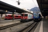 Three generations of RhB at Chur (L-R) - EMU #3101 with RE1557 1248 Chur - Thusis, Ge4/4 II #616 with RE1252 1040 Scuol-Tarasp - Disentis & Ge4/4 III #652 with RE1141 1258 Chur - St Moritz