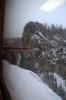 RhB Ge 4/4 III 643 crosses a viaduct at Filisur with RE1125 0858 Chur - St Moritz