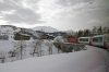 MGB HGe 4/4 II 103 leads the Glacier Express GEX903 0902 St Moritz - Zermatt away from Disentis