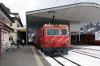 MGB HGe 4/4 II 103 at Disentis waiting departure with the Glacier Express GEX903 0902 St Moritz - Zermatt after replacing RhB Ge 4/4 II 625